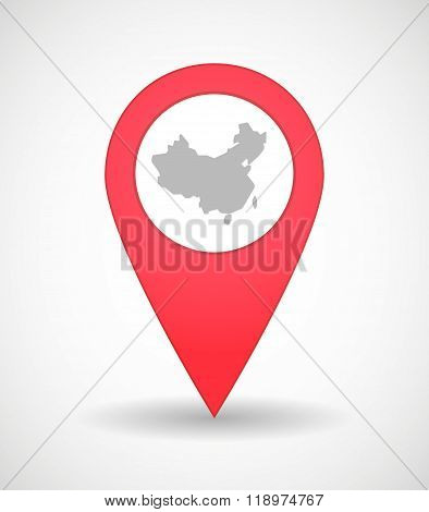 Map Mark Icon With  A Map Of China