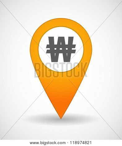 Map Mark Icon With A Won Currency Sign
