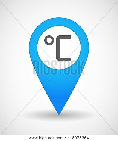 Map Mark Icon With  A Celsius Degree Sign