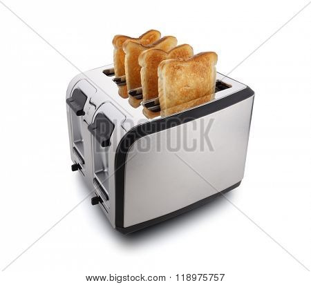 New modern four slice toaster with toasted bread isolated on white