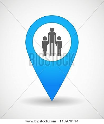 Map Mark Icon With A Male Single Parent Family Pictogram