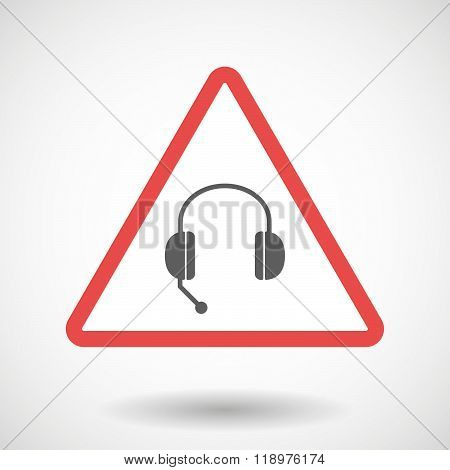 Warning Signal Icon With  A Hands Free Phone Device