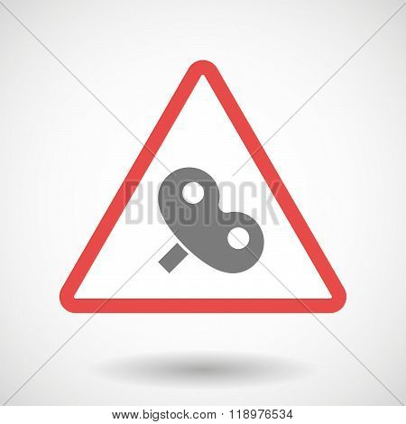 Warning Signal Icon With A Toy Crank