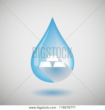 Long Shadow Water Drop Icon With Three Gold Bullions