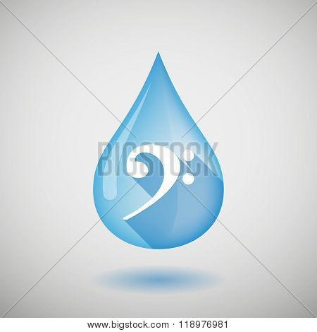 Long Shadow Water Drop Icon With An F Clef