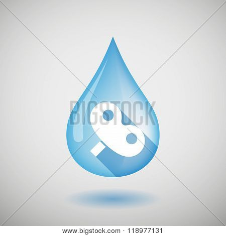 Long Shadow Water Drop Icon With A Toy Crank