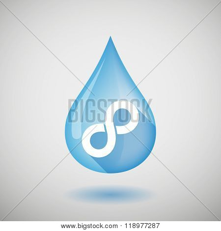 Long Shadow Water Drop Icon With An Infinite Sign