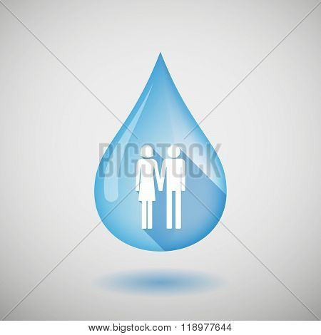 Long Shadow Water Drop Icon With A Heterosexual Couple Pictogram