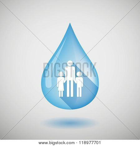 Long Shadow Water Drop Icon With A Male Single Parent Family Pictogram