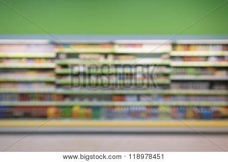 Defocused and blurry image of supermarket display shelves