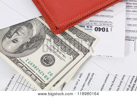 Us Tax Form With Wallet. Taxation Concept