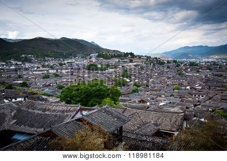 LIJIANG, CHINA, April 28, 2015: Lijiang Old Town building roof from high view. Lijiang is one of the most beautiful cities of China with a rich culture and history.