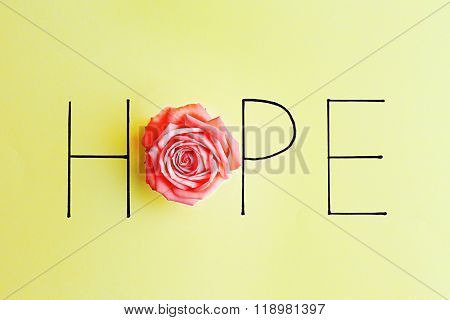 Inscription hope with pink rose on green background