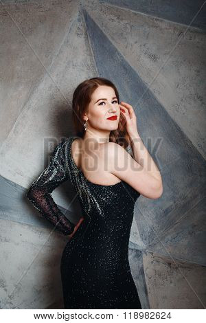 Young Red Hair Woman In Luxury Black Dress