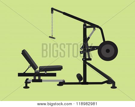 pull down machine isolated with green background