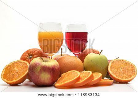 Fresh Orange, Apple And Grapefruit Juice And Fruits