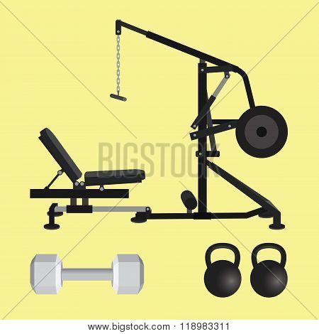 gym equipment with dumbell kettlebell and lat pull down tools