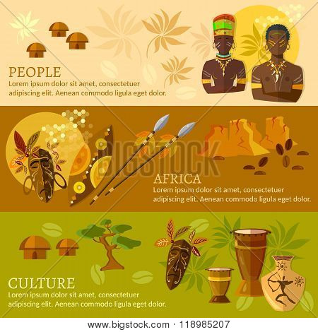 African Banners Africa Culture And Traditions African Tribes Vector Illustration