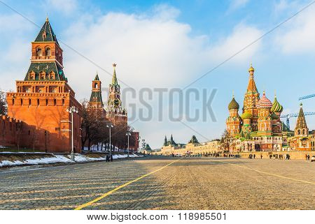 St. Basil's Cathedral And Moscow Kremlin On Vasilevsky Descent.