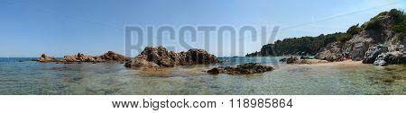 Scenic View Of Rocks At Santa Cristina Beach, Catalonia, Spain.