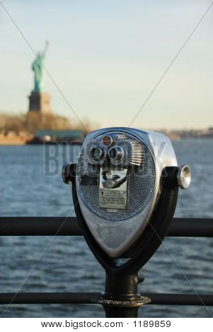 Binoculars With Statue Of Liberty
