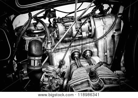 Gritty Black And White Motorcycle Engine