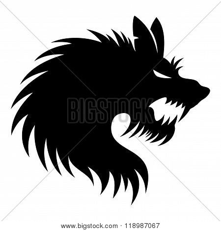 Werewolf sign on a white background