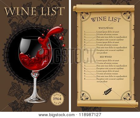 Wine list with old parchment, grapes, bottle and wineglass with splashed wine. Vintage menu template. Vector illustration