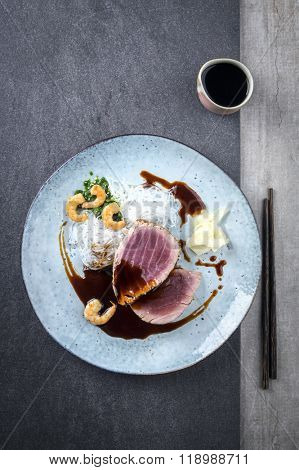 Tuna Tataki with Rice Noodles