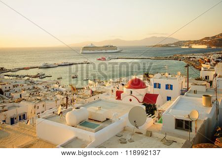 Sunset Scene Of The Village And Port, Mykonos
