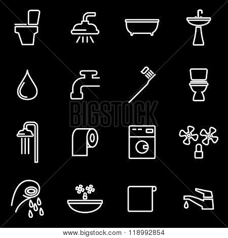 Vector line bathroom icon set