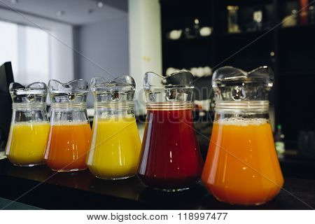 Beautiful line of colorful juices