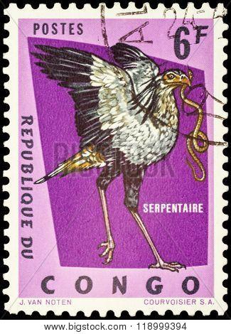 Secretarybird (sagittarius Serpentarius) On Postage Stamp