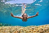Young Woman Dive Underwater Over Coral Reef In Sea poster