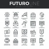Cyber Security Futuro Line Icons Set poster