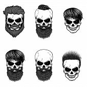 Постер, плакат: Set Of Bearded Skulls Skulls With Beard And Hair