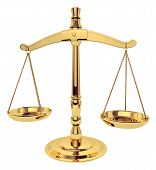 stock photo of scales justice  - brass scales of justice over white  - JPG