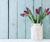 Bouquet of tulip flowers in vintage vase on the shelf over blue wooden background, shabby chic inter poster
