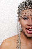 pic of pouty lips  - Pretty biracial woman smiling - JPG