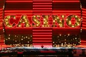 foto of keno  - Bright red neon casino sign - JPG
