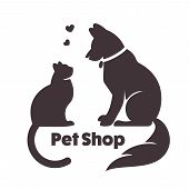 Cat and dog vector signs and logo. poster