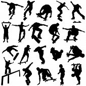 stock photo of skate board  - set of skateboarding silhouette illustration design vector - JPG