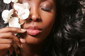 foto of black woman spa  - Beautiful sexy black woman with orchid - JPG