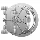Half-open bank vault door on white poster