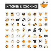Постер, плакат: kitchen icons kitchen logo cooking icons vector cooking flat illustration concept cooking infogr