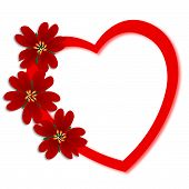 image of valentines day  - valentines day greeting card with red flowers on heart - JPG