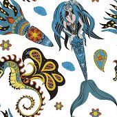 Постер, плакат: Hand drawn Ornamental Mermaid sea horse and calmar seamless Mermaid dark pattern Girl with tall