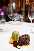 picture of chateaubriand  - Elegant tenderloin steak on a restaurant table - JPG