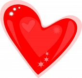 Isolated shiny glossy red valentines day heart Classic symbol of romantic love