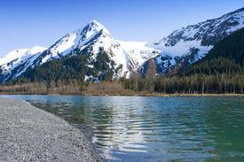 pic of mountain-range  - Snow covered beautiful mountain peaks - JPG